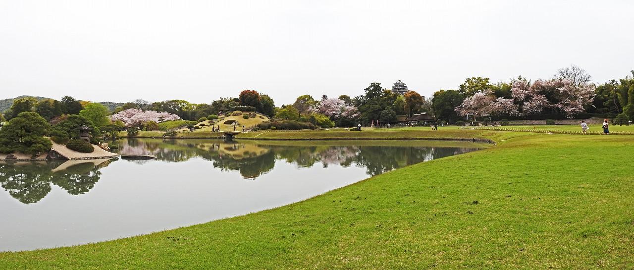 s-20160408 後楽園春嵐の跡の今日の沢の池越しに見る園内ワイド風景 (1)