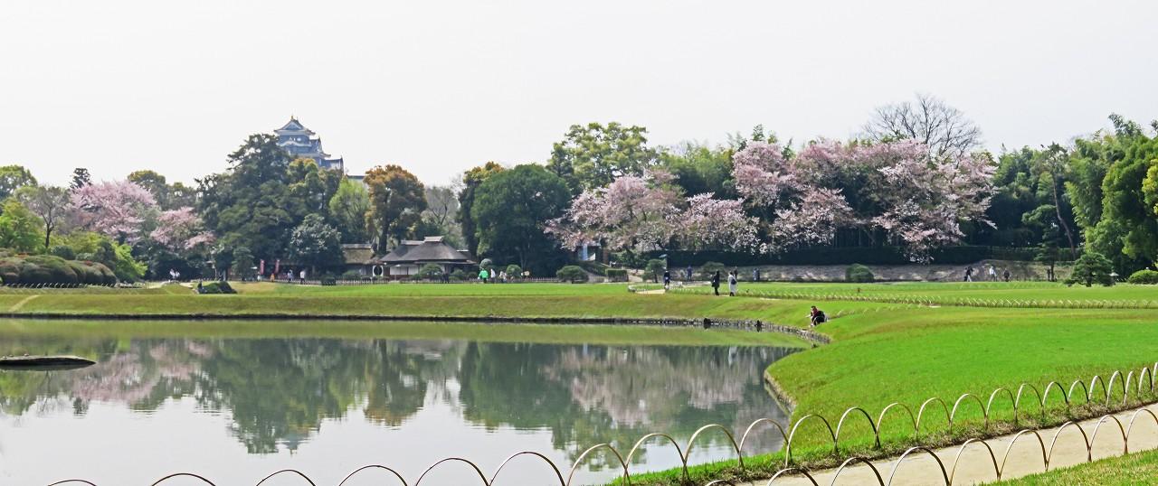 s-20160409 後楽園今日の穏やかな沢の池越しに眺めた園内ワイド風景 (1)