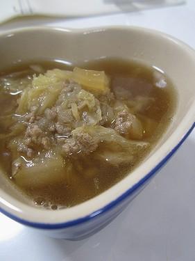 20160329白菜とひき肉の生姜煮スープ