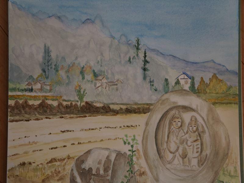 安曇野の水彩画
