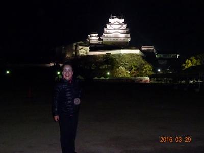 DSC05174ライトアップされた姫路城で