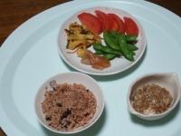 10/1 昼食 納豆、明太子、枝豆、トマト、ハリハリ漬け、寝かせ玄米