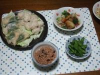 10/2 夕食 イカしゅうまいと海老パオズ、グリル野菜サラダ、枝豆、寝かせ玄米
