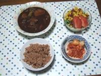 10/3 夕食 ビーフシチュー、サラダ、キムチ、寝かせ玄米