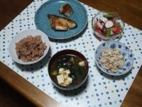 10/8 夕食 ぶりの味噌漬け、タコとアスパラ・トマトのサラダ、こんにゃくの白和え、豆腐とワカメの味噌汁、寝かせ玄米