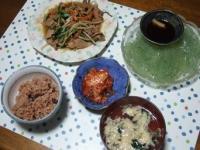 10/9 夕食 プルコギ、刺身こんにゃく、キムチ、玉子スープ、寝かせ玄米