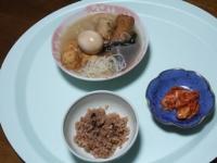 10/11 夕食 おでん、キムチ、寝かせ玄米