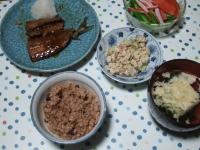 10/12 夕食 さんま蒲焼、豆苗とオクラのサラダ、こんにゃくの白和え、玉子スープ、寝かせ玄米