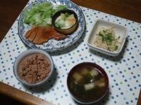 10/13 夕食 豚ロースの味噌粕漬け、アスパラとジャガイモのチーズ焼き、エノキの明太和え、長ネギとワカメの味噌汁、寝かせ玄米