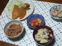 10/14 夕食 鯵フライ、鶏から揚げ、こんにゃくの白和え、キムチ、玉子スープ、寝かせ玄米