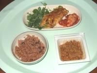 10/16 昼食 きのこオムレツ、納豆、寝かせ玄米