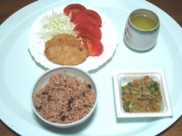 10/21 昼食 アジフライ、納豆、寝かせ玄米