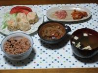 10/30 夕食 海老シュウマイ、きんぴられんこん、イカ明太、キムチ、インスタントみそ汁、寝かせ玄米