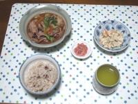 11/13 夕食 イカとキャベツの醤油炒め、こにゃくの白和え、イカ明太、雑穀ごはん