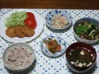 11/14 夕食 とんかつ、こんにゃくの白和え、しめじと小松菜の煮びたし、オイキムチ、インスタントみそ汁、雑穀ごはん