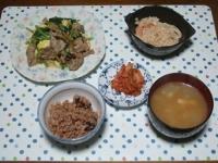11/19 夕食 豚肉と小松菜の玉子炒め、エノキの明太和え、キムチ、大根と油揚げの味噌汁、寝かせ玄米