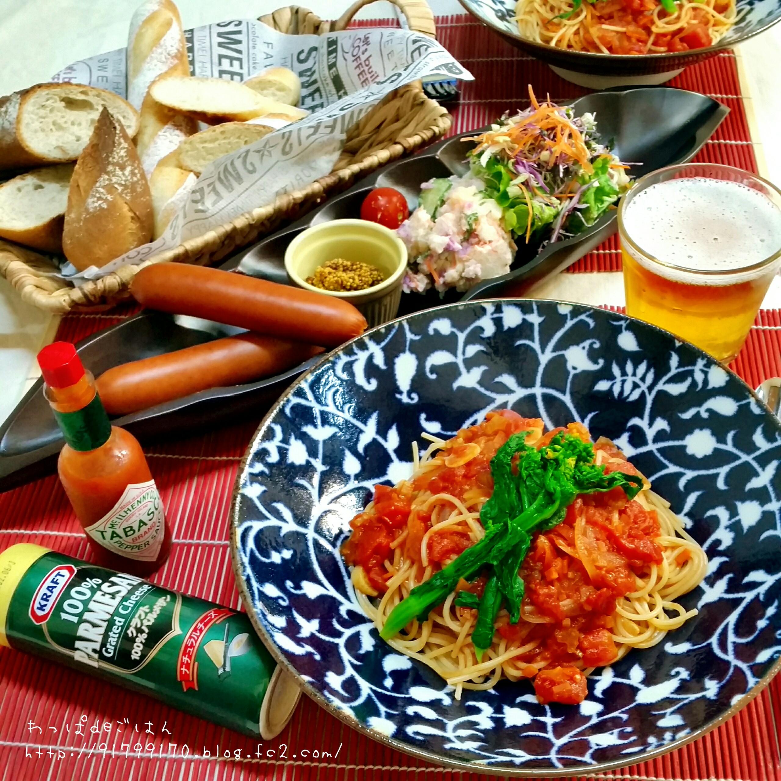 トマトソースパスタの晩ごはん