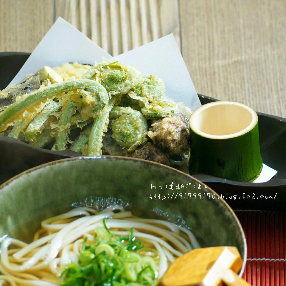 山菜天ぷらうどんの晩ごはん