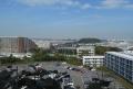 浦郷高台から見る景色。正面は横須賀スタジアム。小高い山は野島。