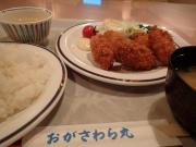 おがさわら丸 レストラン カキフライ定食(2016/2/12)