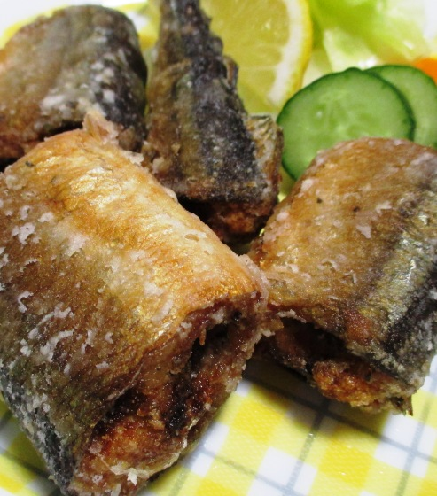 秋刀魚のバジルペパー唐揚げ 大