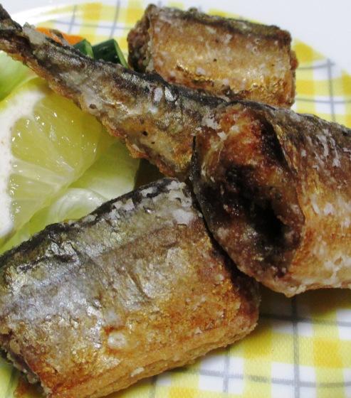 秋刀魚のバジルペパー唐揚げ 拡大