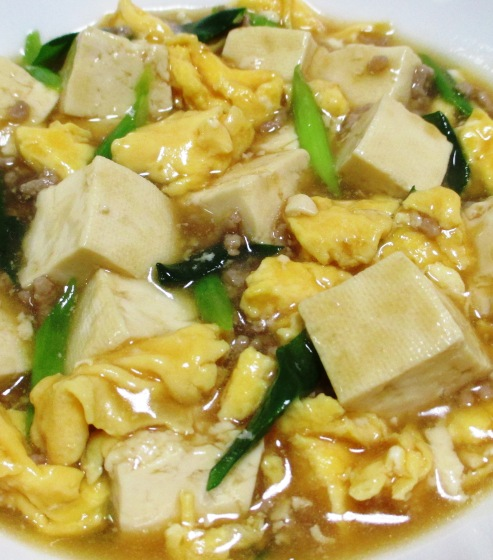 豆腐と炒り卵のオイスターソース煮 大