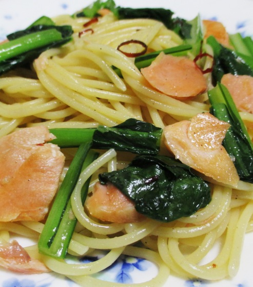 塩鮭と小松菜のパスタ B