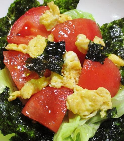 トマトと炒り卵の韓国海苔サラダ 大