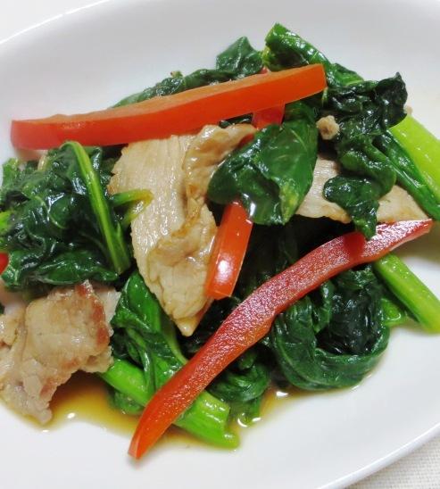 小松菜と豚こまの炒め物 大