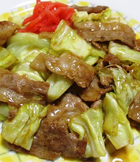 キャベツと豚肉のお好みソース炒め 大