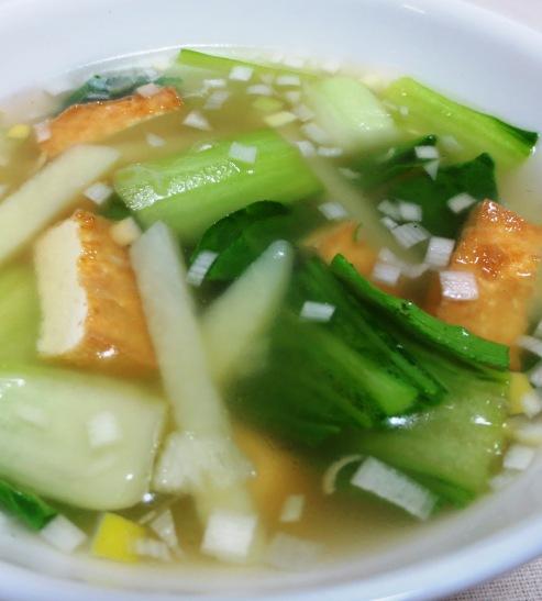 厚揚げ青梗菜スープ 大