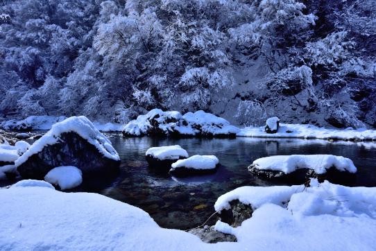伊那市長谷の黒川雪景色