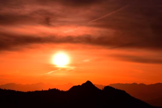 志賀笠ヶ岳の落日
