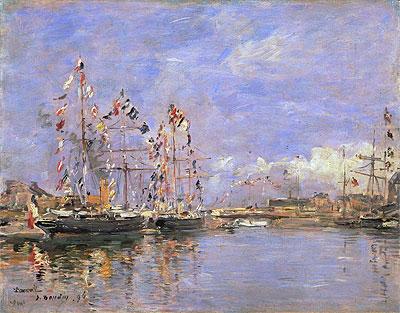 ブーダン【ドービル、旗で飾られた港の船(Deauville, Flag-Decked Ships in the Inner Harbor)】