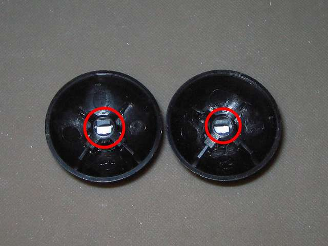 シリコンコントローラーカバー装着済み Xbox 360 コントローラーとカバー付きアナログスティックの干渉トラブル Xbox 360 コントローラー(ブラック)にも同じ要領でアナログスティック軸の高さ調節改造する