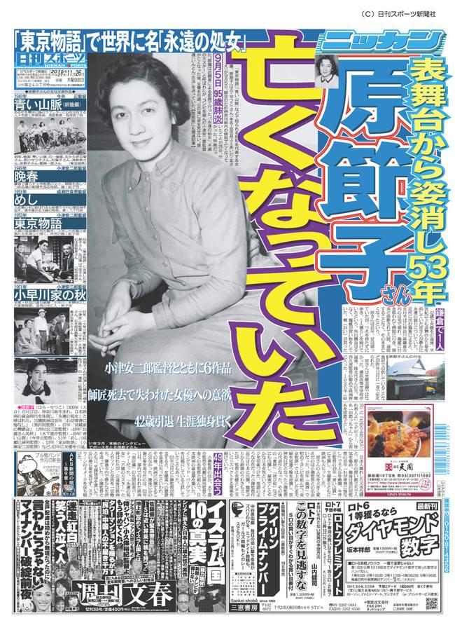 20151126日刊スポーツ原節子訃報