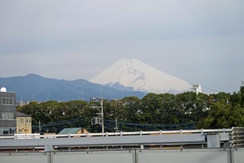 01新幹線三島駅ホームからの富士山