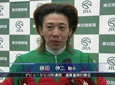 インタビューをうける変な髪形の藤田伸二の画像