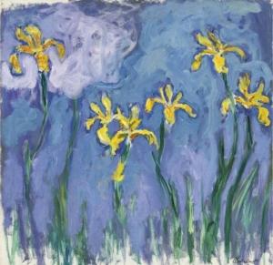monet Iris jaunes au nuage rose
