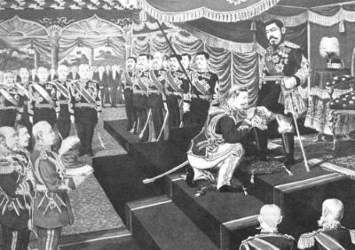 E382ACE383BCEガーター勲章をコノート公爵より伝達される明治天皇(1906年)
