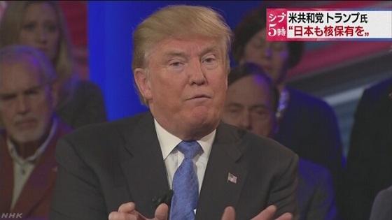 トランプ氏「対北朝鮮で日本の核兵器保有を容認」