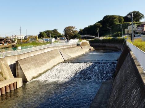 東山田橋から引地川上流を望む