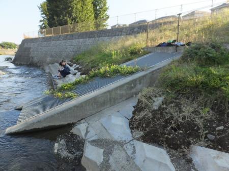 境川鶴間一号橋付近遊水池の排水ゲート