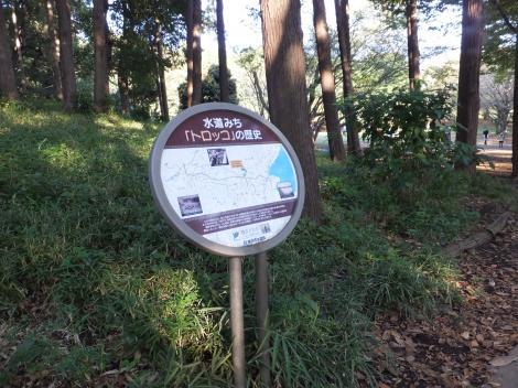鶴間公園内横浜水道みちトロッコの看板