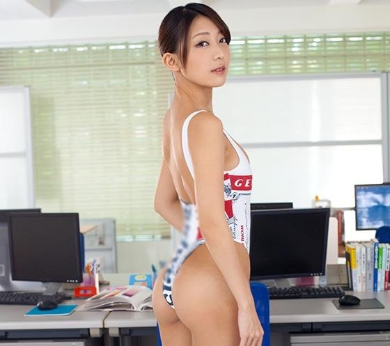 【香椎りあ】美人レースクイーンがローション3Pセックス!