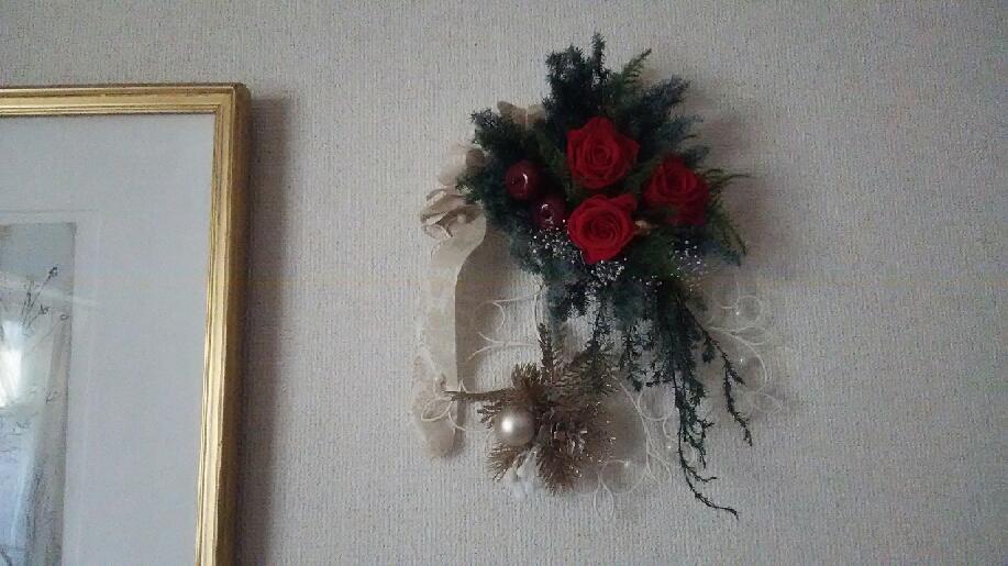 壁掛けクリスマスアレンジ 横