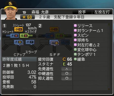 森福允彦 プロ野球スピリッツ2015 ver1.10