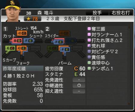 森唯斗 プロ野球スピリッツ2015 ver1.10