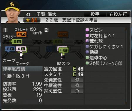 千賀滉大 プロ野球スピリッツ2015 ver1.10
